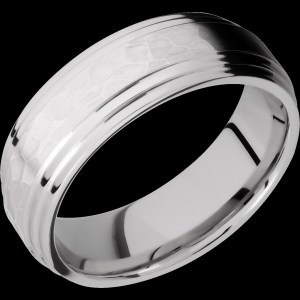 Men's 7 mm wide, domed, stepped down edges, Cobalt Chrome band with a hammered, polish finish.