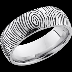 Men's 8 mm wide, domed, Cobalt Chrome band with a laser carved Finger Print 2 pattern with a polish finish.