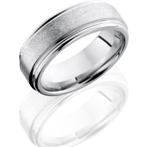 Men's 8 mm wide, flat rounded edges, Cobalt Chrome band with a stone finish.