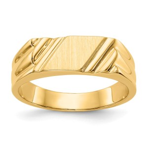 14 kt. yellow gold, casted, open back, signet ring that measures 5.5 mm X 5.5 mm, with a satin polished finish. This ring is engravable.