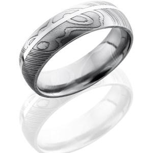 Men's 7 mm wide, domed, Damascus band with one 1 mm off center inlay of Sterling Silver with a polish finish