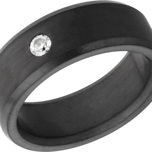 Men's 8 mm wide, beveled, Elysium band with one .10 carat round diamond centered in a flush setting with matte finish.
