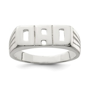 """Men's sterling silver solid """"Dad ring with a polished finish."""