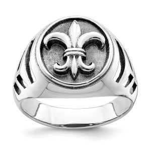 Men's sterling silver, signet style, antiqued Fleur de lis ring with a polished finish.