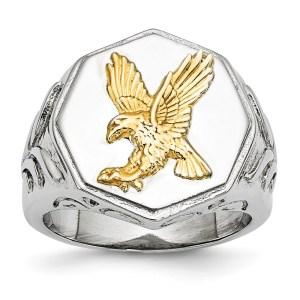Men's stainless steel, signet style ring accented with a sterling silver, yellow gold, IP-Plated eagle with a polished finish.