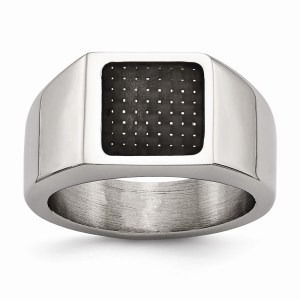 Men's stainless steel signet ring with an inlay of black carbon fiber and with a polished finish.