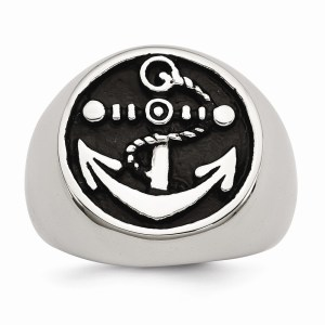 Men's stainless steel, antiqued, anchor ring with a polished finish.
