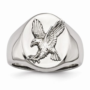 Men's stainless steel with a sterling silver rhodium-plated eagle accented ring with a polished finish.