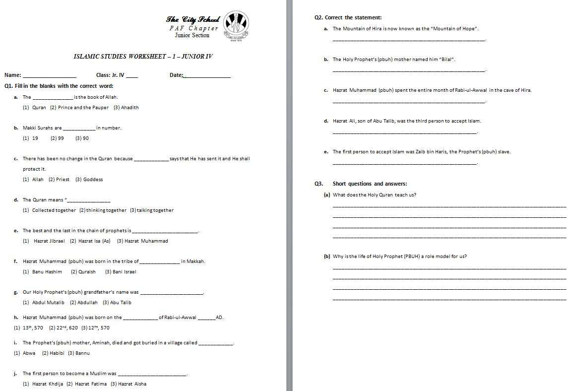 Class 4 Home Work Worksheets