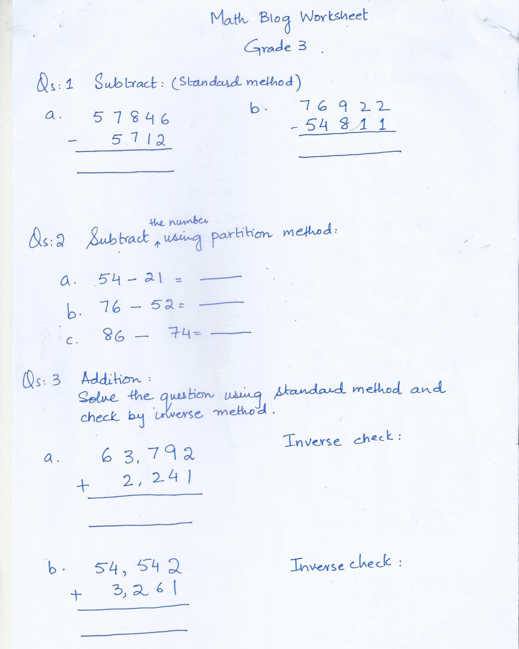 Math Blog Worksheet Class 3