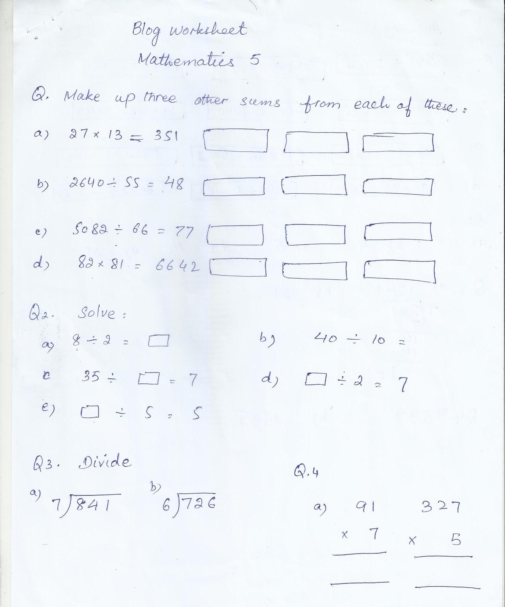 Math Blog Worksheet Class 5