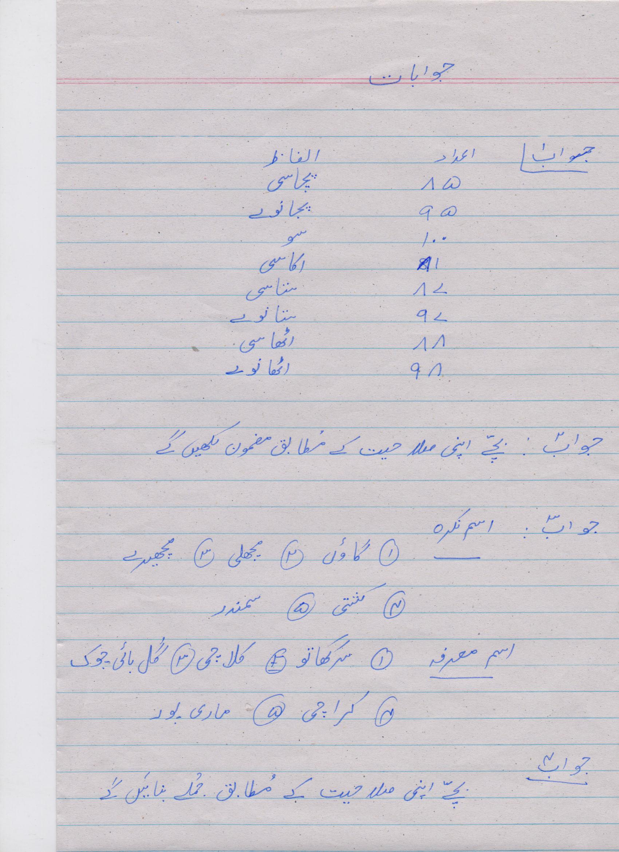 Urdu Blog Worksheet 2 Answer Key Class 5