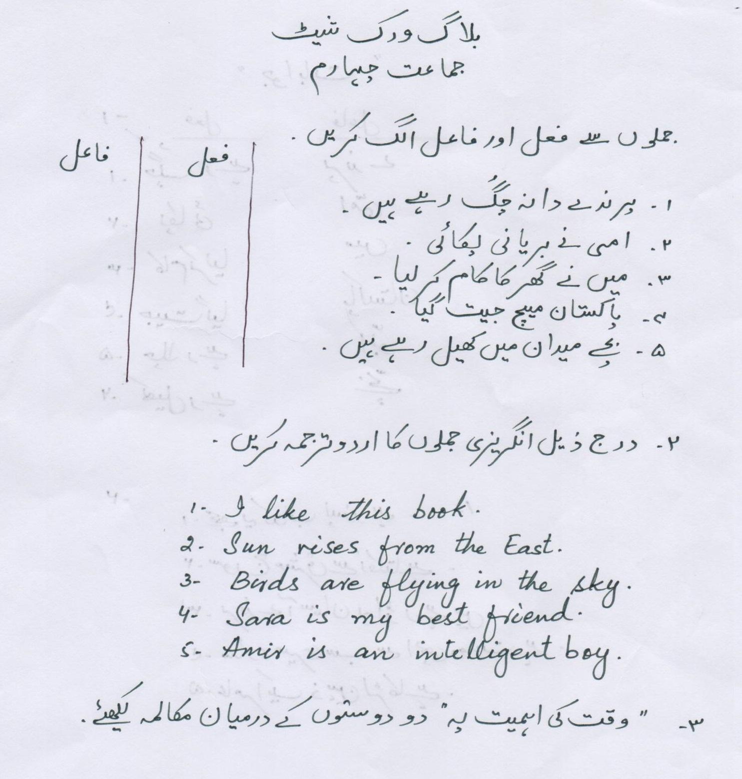 Urdu Blog Worksheet Class 4