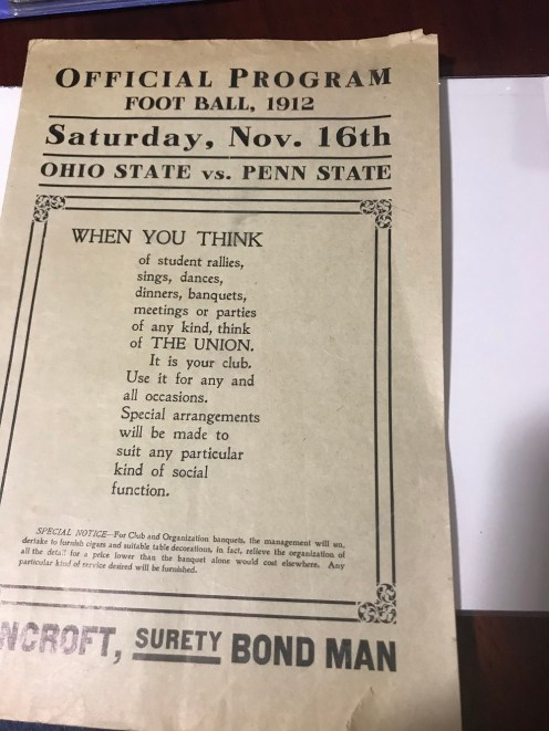 His prized piece, the only existing copy known of the first PSU/OSU game