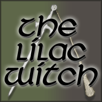 The Lilac Witch written over a silver sword and gold besom with a green background