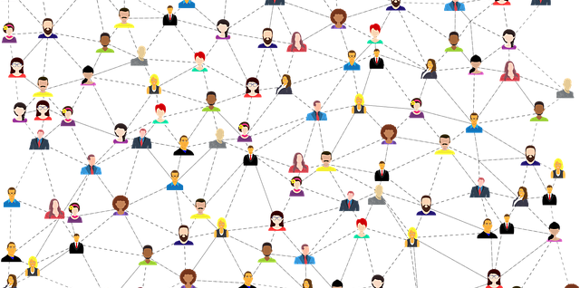 many cartoon people scattered about, with lines drawn between them to show connections