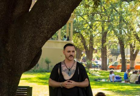 Buck discusses Queer Pagan Men Australia at our first Pagan Pride Day, in 2017. Photo: Mark Hayes Photography