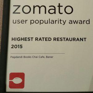 Zomato Highest Rated Restaurant Award