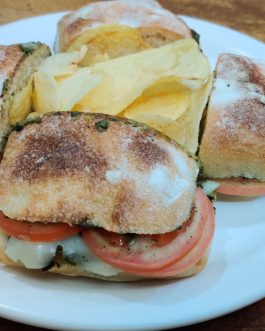 Ciabatta Rolls with Basil Pesto, Mozzarella & Tomatoes