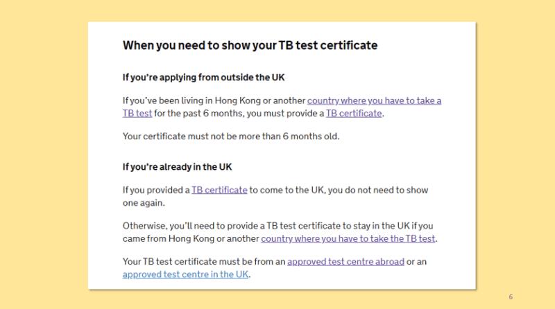 BNO Visa TB Certificate required