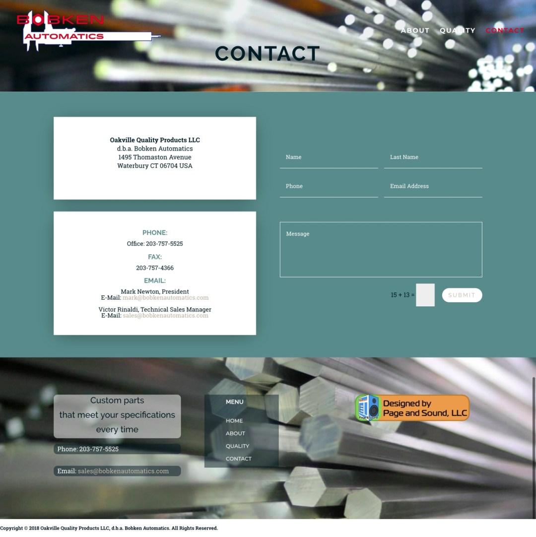New Contact Page Screenshot