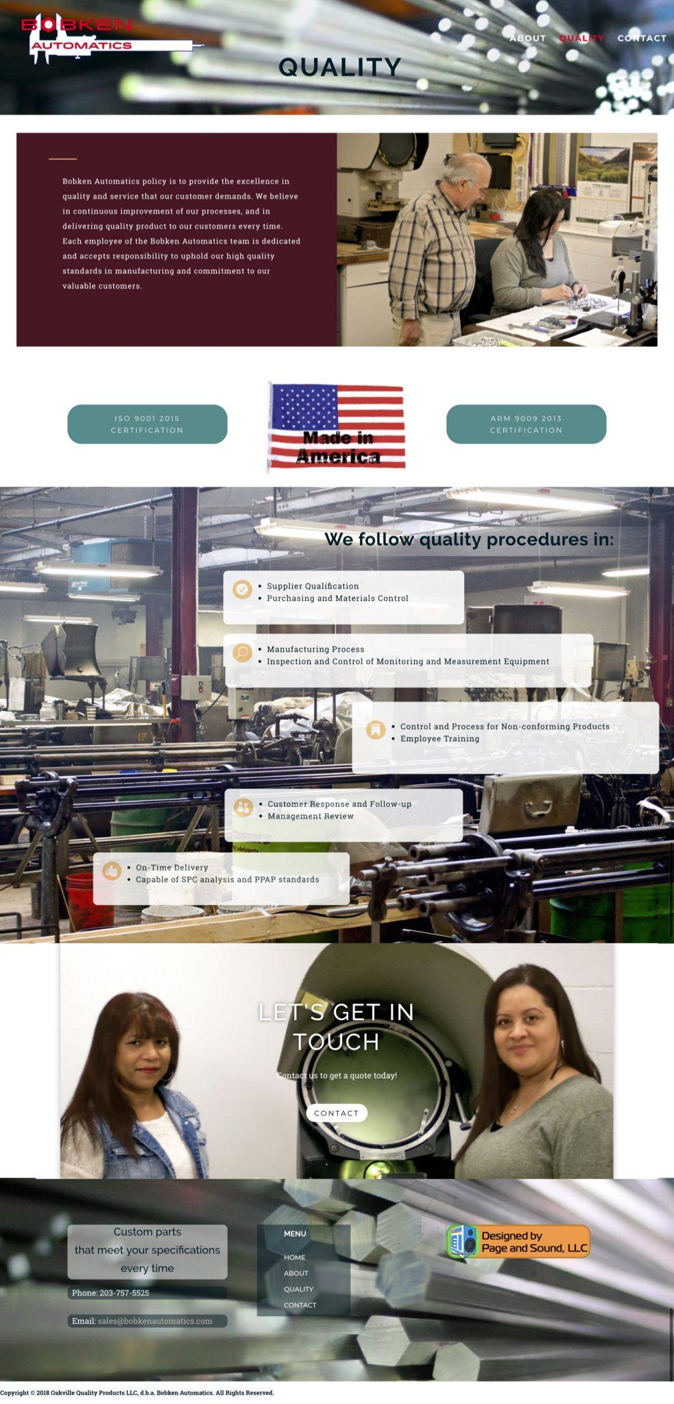 New Quality Page Screenshot