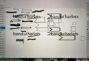black and white art idea board for a logo project
