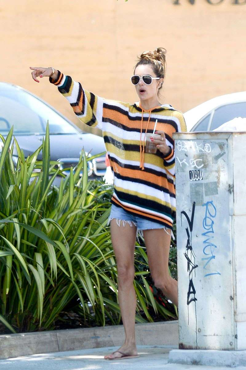 Alessandra Ambrosio shopping with a friend and family in Malibu