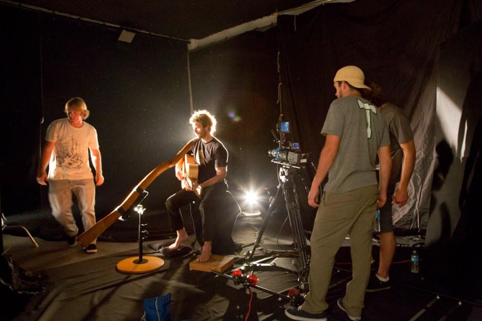 Trevor Green - Lonesome Road BTS, Studio crew shooting overlays.