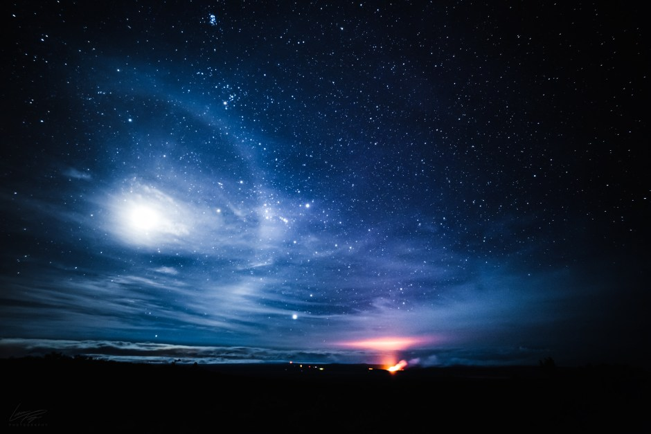 Volcanic Tides - A lunar halo hovers above Halema'uma'u crater, Hawaii.