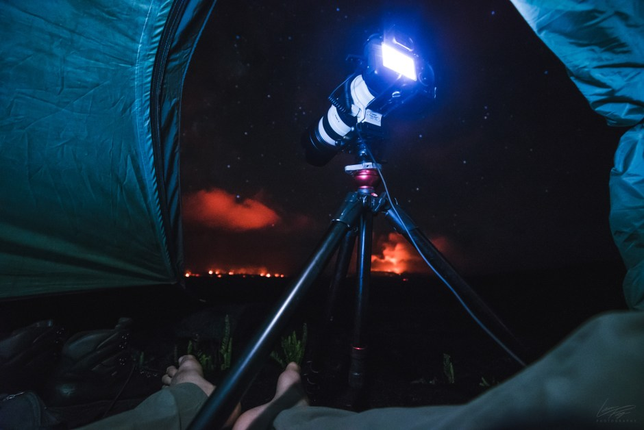 Volcanic Tides - BTS shooting Puʻu ʻŌʻō and lava flows from the tent.