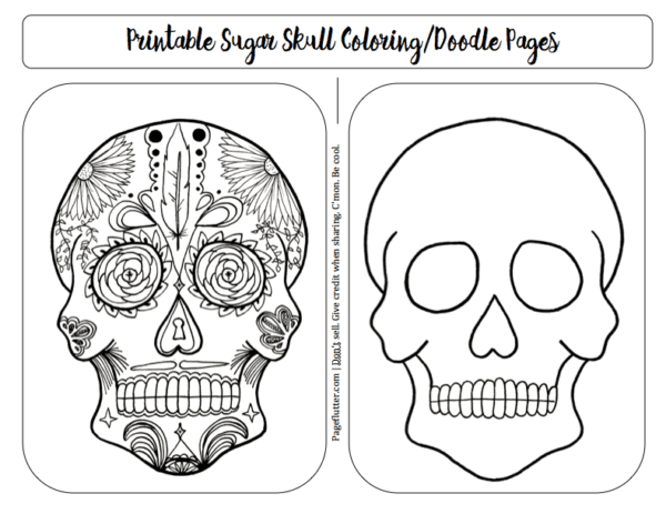 Sugar Skull Doodle Coloring Pages For Bullet Journal Remembrance Page