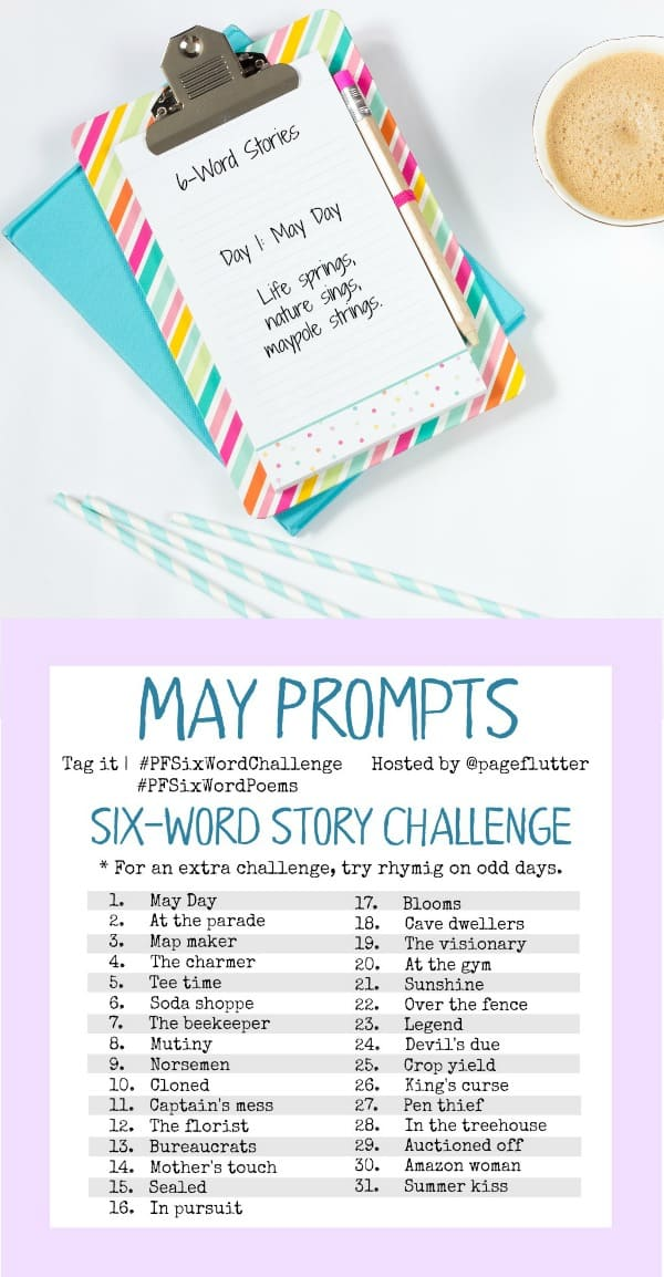 May challenge prompts for the #PFSixWordChallenge. Daily creative exercise for your Bullet Journal!