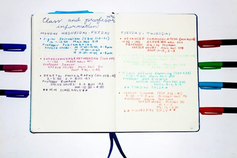 College class schedules are a snap with these Bullet Journal spreads for back to school.