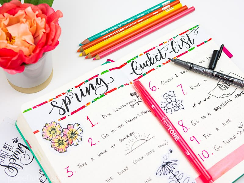 15 Printable Floral Planner Stickers to Beautify Your Entire Routine-1 | Spring Bucket List pages with floral stickers-2 | pageflutter.com