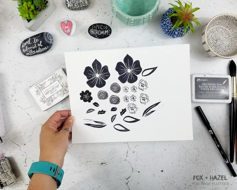 Create an easy watercolor art journal page with floral stamps | Fox + Hazel for pageflutter.com