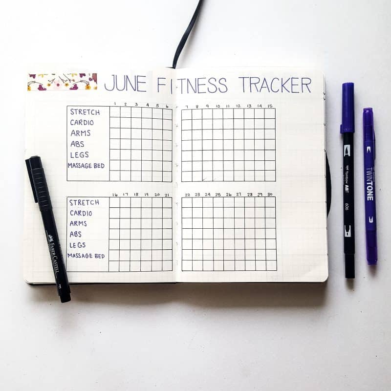 30+ Super Trackers For Your Planner:Daily, Monthly, Yearly|purple june fitness (2) | Jihi Elephant for pageflutter.com