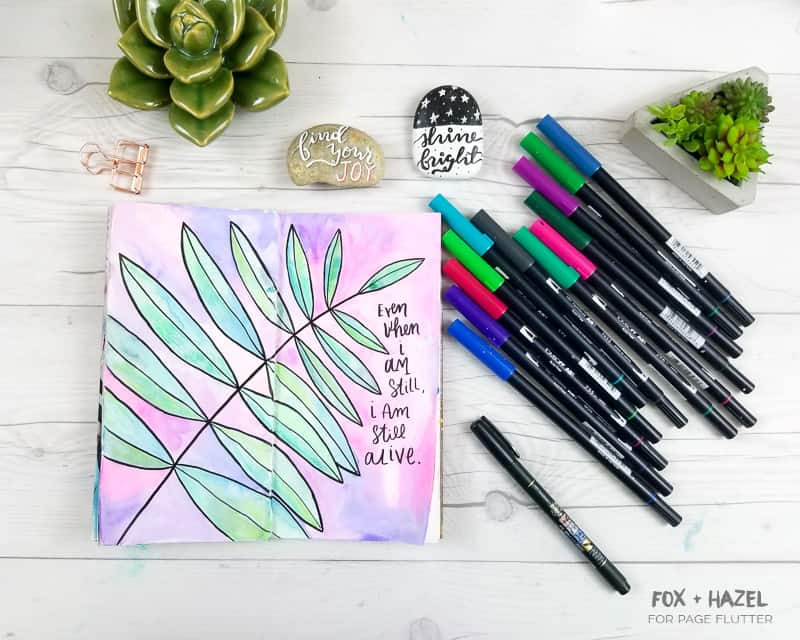 Watercolor Art Journaling with Tombow Dual Brush Pens - Fox + Hazel for Page Flutter-15