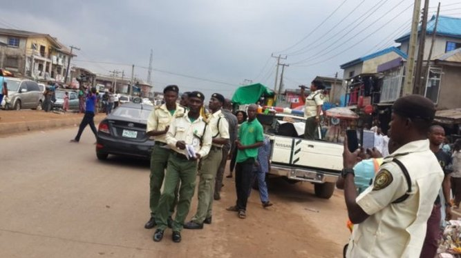 Men of the Ogun Traffic Compliance and Enforcement Corps (TRACE) on duty. [PM News]