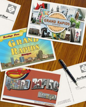 """Greetings from Grand Rapids, MI"" postcards. Photoshop, Illustrator https://www.etsy.com/shop/pinktoepress?section_id=5544237"