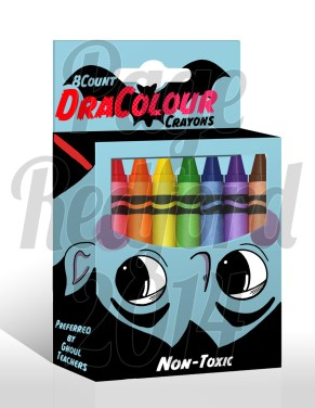 """DraColour"" crayon box design. Photoshop."