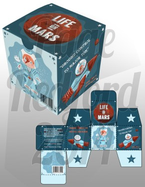 """Life on Mars"" toy box design for a child's rocket toy."