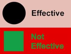 image showing contrasting text that is effective and text that is not effective