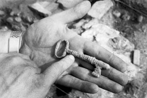 Key found during excavation of Virginia State Penitentiary in 1991 (Jay Paul, Richmond Times Dispatch)