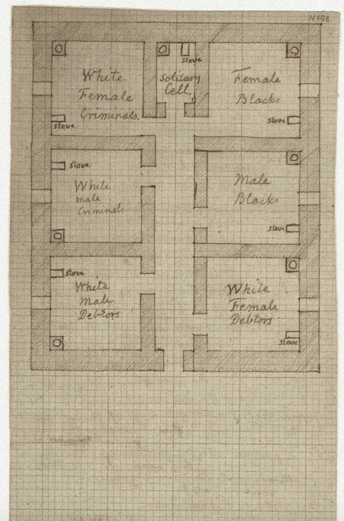"""Thomas Jefferson's drawing of a prison in a grid of 6 cells, features a cell for solitary confinement and segregated cells specifically designated for """"White Female Criminals,"""" """"White Male Criminals,"""" """"White Male Debtors,"""" """"White Female Debtors,"""" """"Male Blacks,"""" and """"Female Blacks"""" — with a stove and a """"necessary"""" in each cell."""