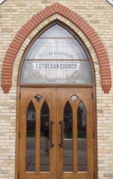 The front doors of Western Koshkonong Lutheran Church