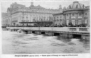Paris Inonde (Janvier 1910)  - Gare quai d'Orsay et Legion d'honneur