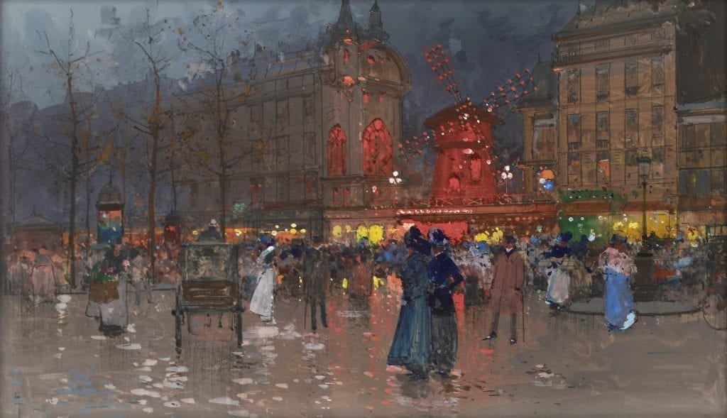 "Eugène Galien-Laloue, ""The Moulin Rouge, evening,"" Wikimedia Commons, accessed July 28, 2015."