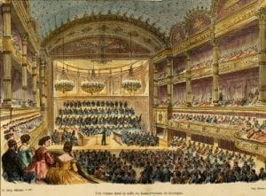 Drawing of an 1888 concert at the Paris Conservatoire