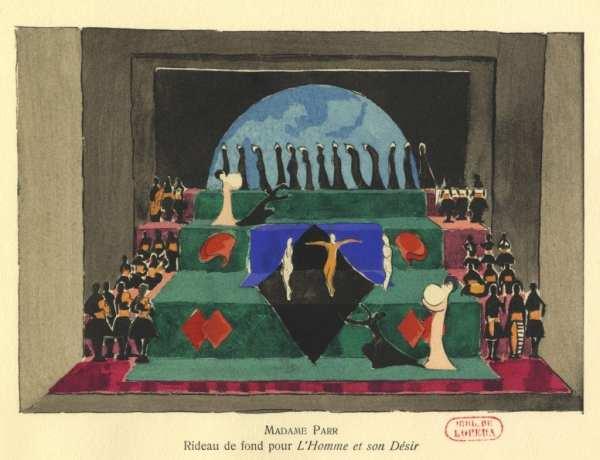 """Set design for L'Homme et Son Desir. """"Un Petit Tour Dans L'Exposition des Ballets Suédois,"""" Danser Canal Historique, last modified August 11, 2014, http://dansercanalhistorique.com/2014/08/11/un-petit-tour-dans-lexposition-des-ballets-suedois."""